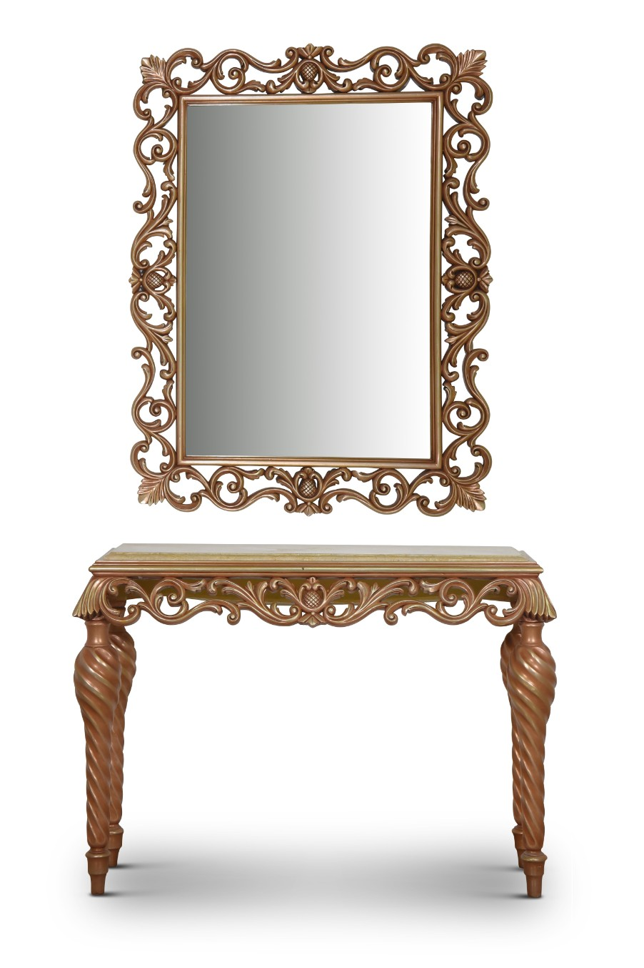MADE TO ORDER / Héliotrope,French Style, Rose Gold Leaf, Marble Top, Console and Mirror Set