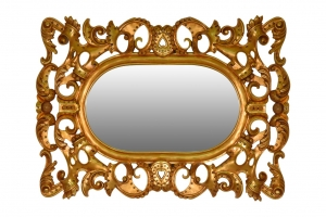 Mimosa, French Style , Gold Leaf, Mirror