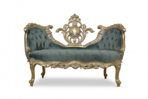MADE TO ORDER / ‎ French Style, Powdered Gold Leaf, Hand Carved Wooden Frame  , Tufted Blue Velvet, Banquette Sofa
