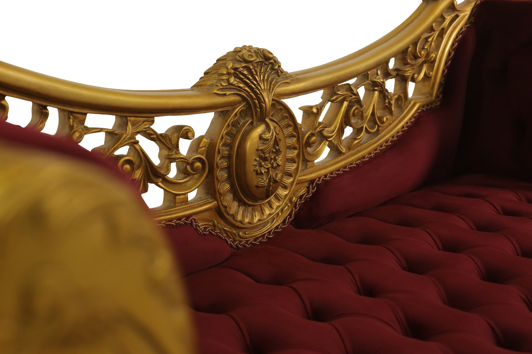 MADE TO ORDER , French Style Settee, 24K Gold Leaf Hand Carved Wooden Frame,Tufted Maroon Velvet