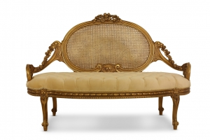 MADE TO ORDER / French Style Settee , French Cane Art, Tufted Tan Velvet, Banquette Sofa