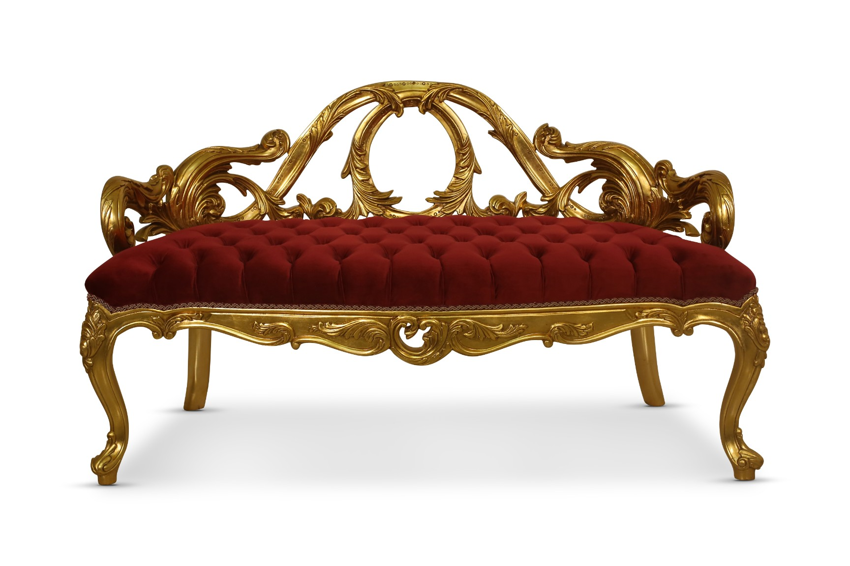MADE TO ORDER /  French Style Settee , 24K Gold Leaf Hand Carved Wood Frame , Tufted Maroon Velvet, Banquette Bench