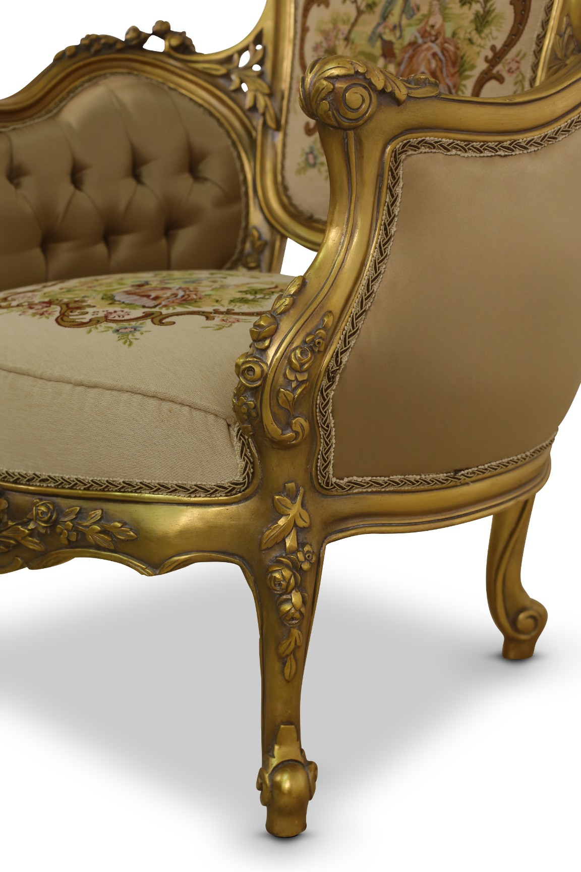 MADE TO ORDER / Esperanza, French Style, Gold Leaf, Tufted Velvet , Satin, pictorial upholstered, Armchair (Set of 2)
