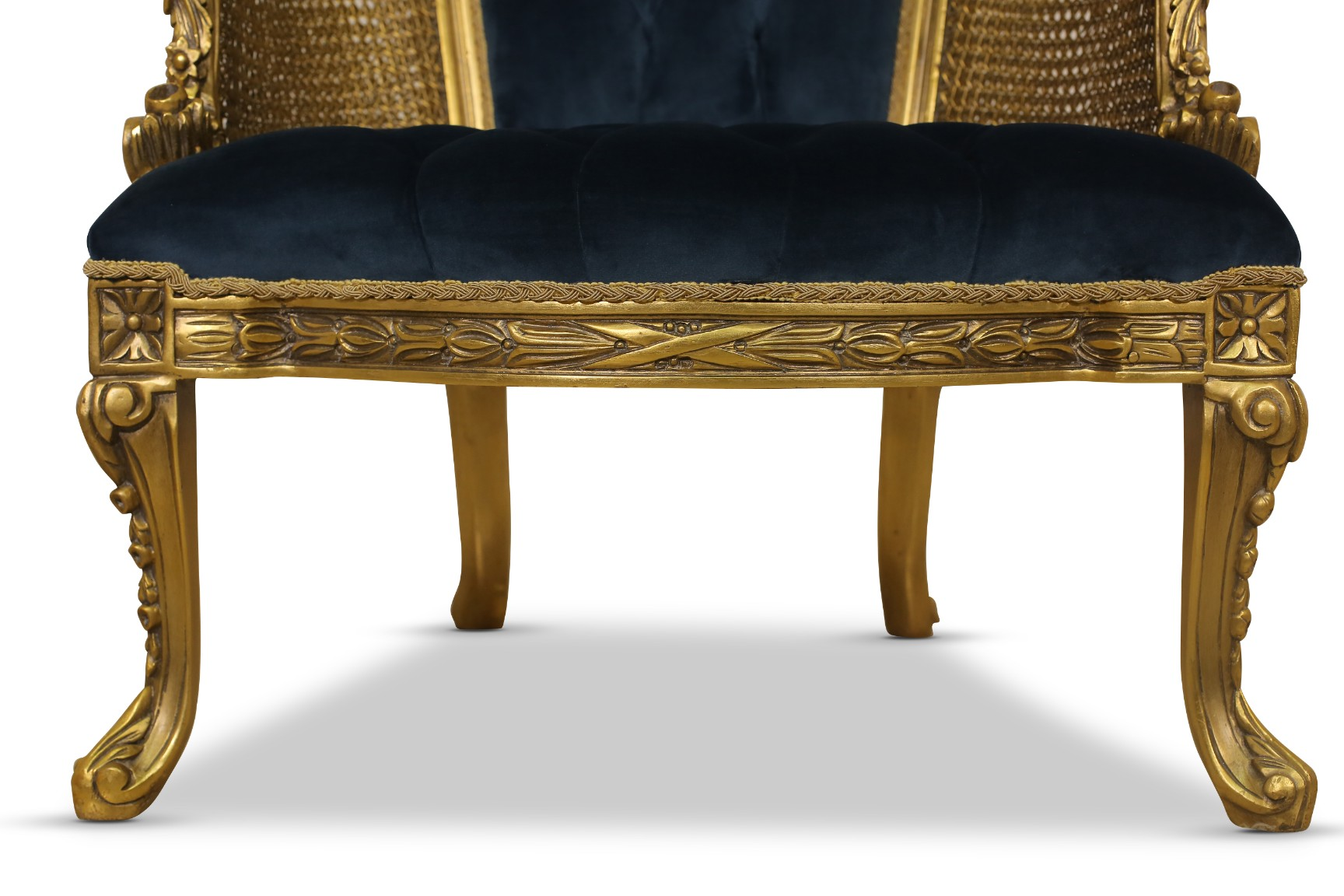 MADE TO ORDER / Pied d'alouette, French Antique Style, Cane Art, Tufted Velvet, Armchair (Set of 2)