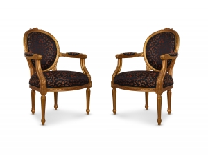 Réséda Louis XV Style,Gold Leaf, Silk, Armchair (Set of 2)