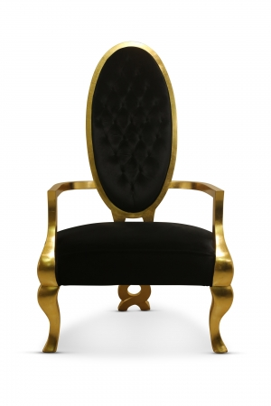 Custom Order , Pair of Chairs , Gold Leaf , Black Velvet , One Bench