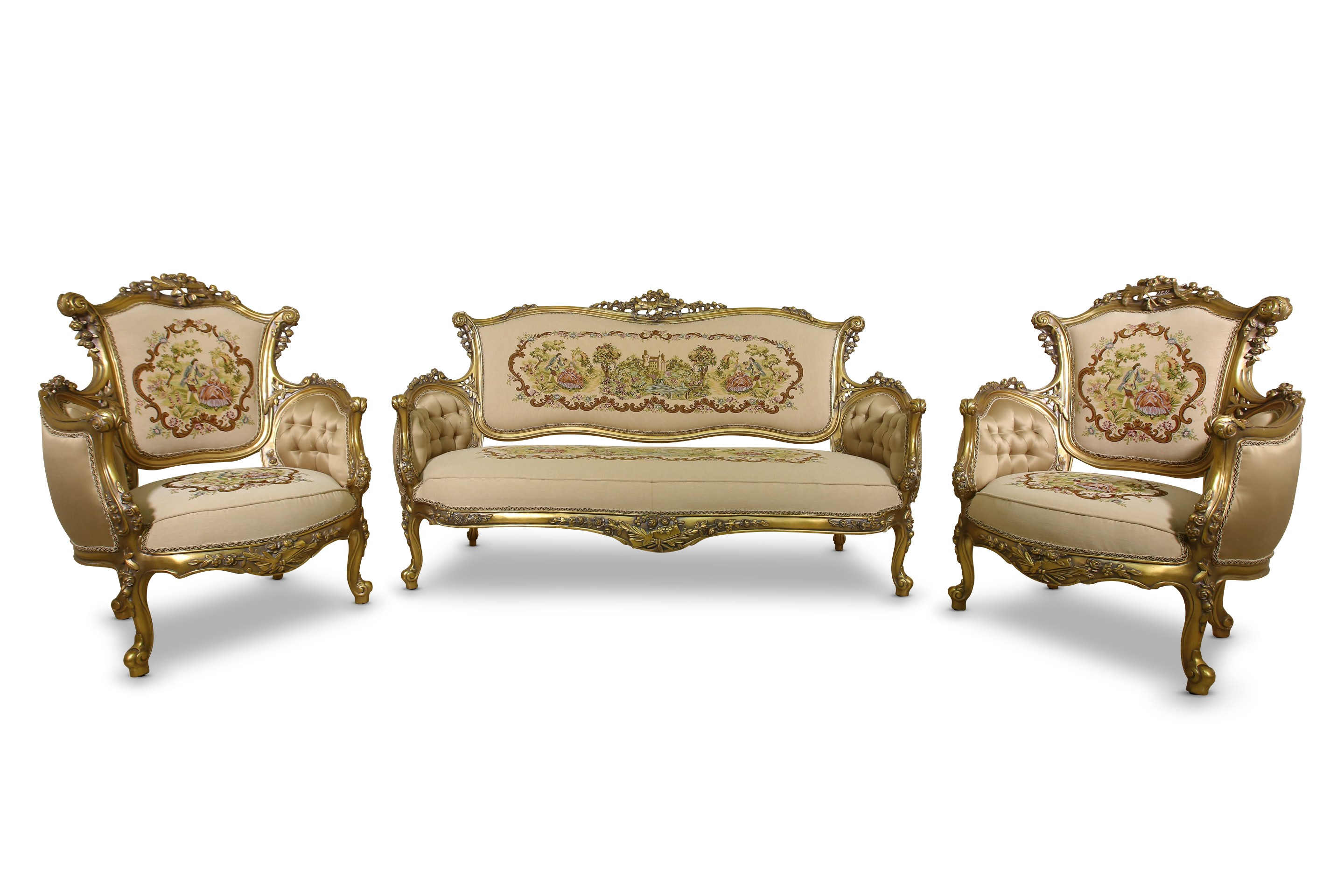 Toile and Satin upholstered Living Room Set