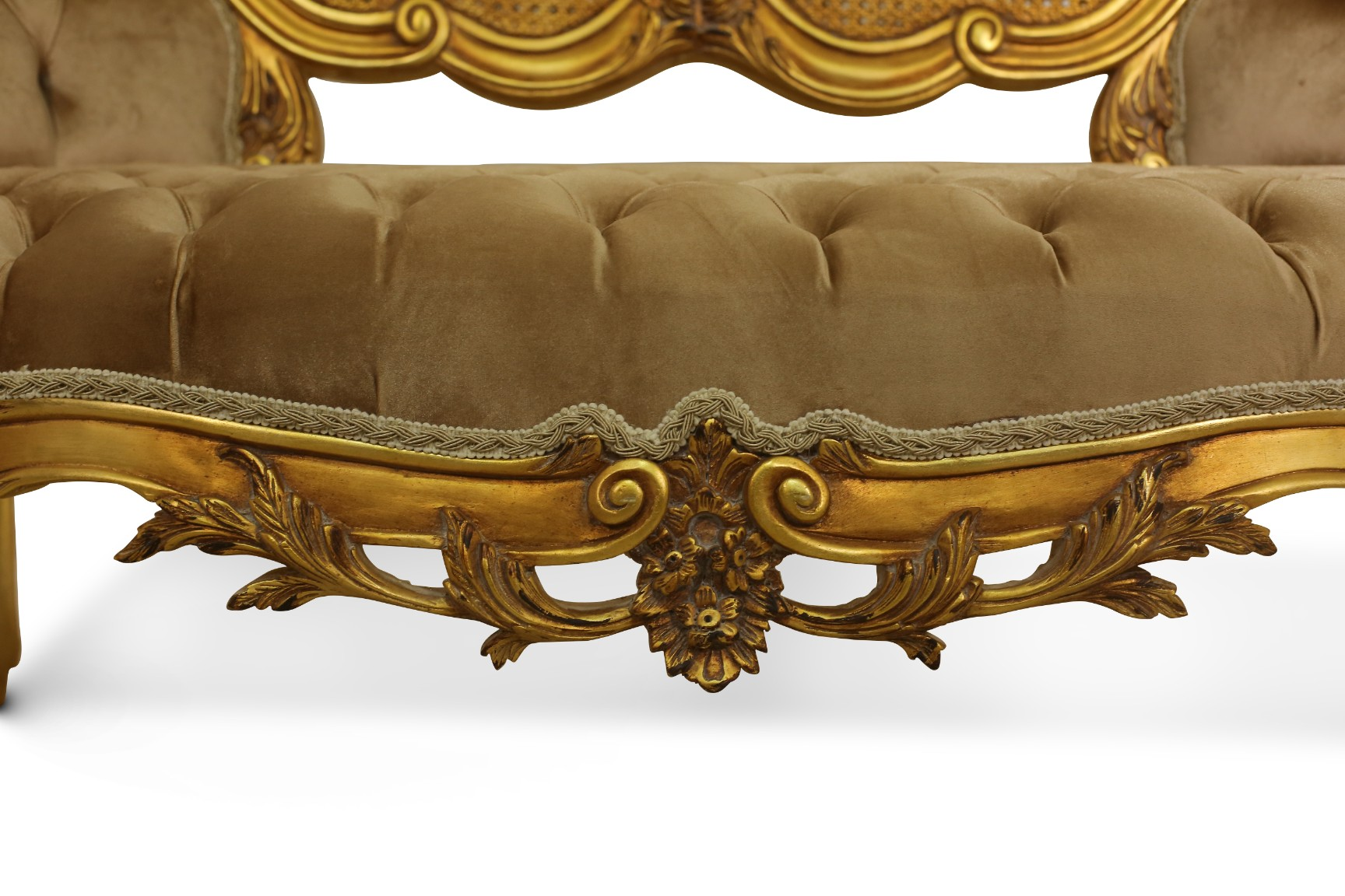 MADE TO ORDER /  French Style Cane Art ,24k Gold Leaf , Tufted Tan/ Beige Velvet , Banquette Sofa