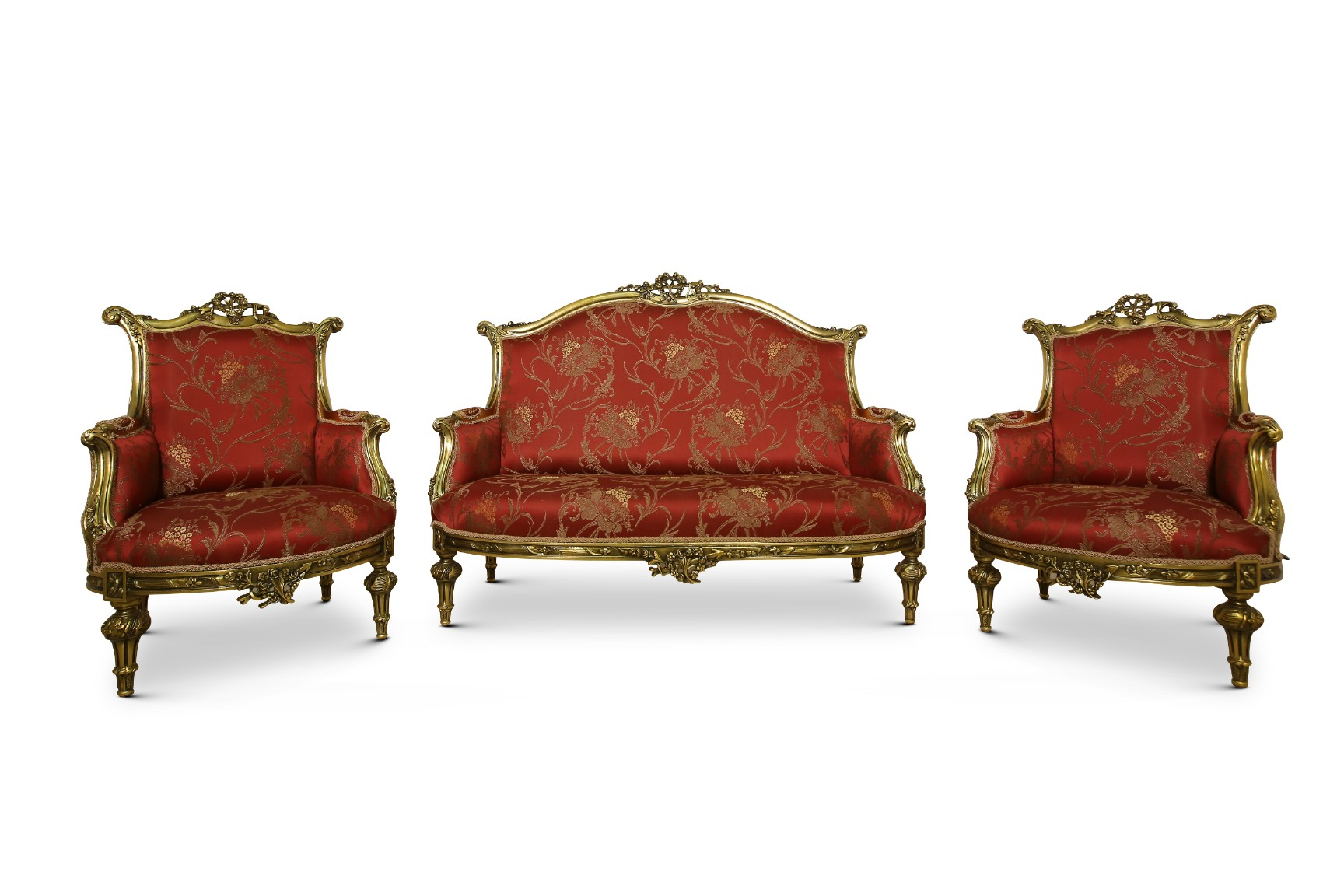 Made To Order / French Style , 24k Gold Leaf Hand Caved Wood , Crimson Red Silk Living Room Set