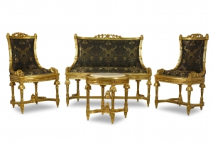 Made To Order / Epilobe à épi, French Antique Style , Gold Leaf , Black and Gold Silk , Living Room Set