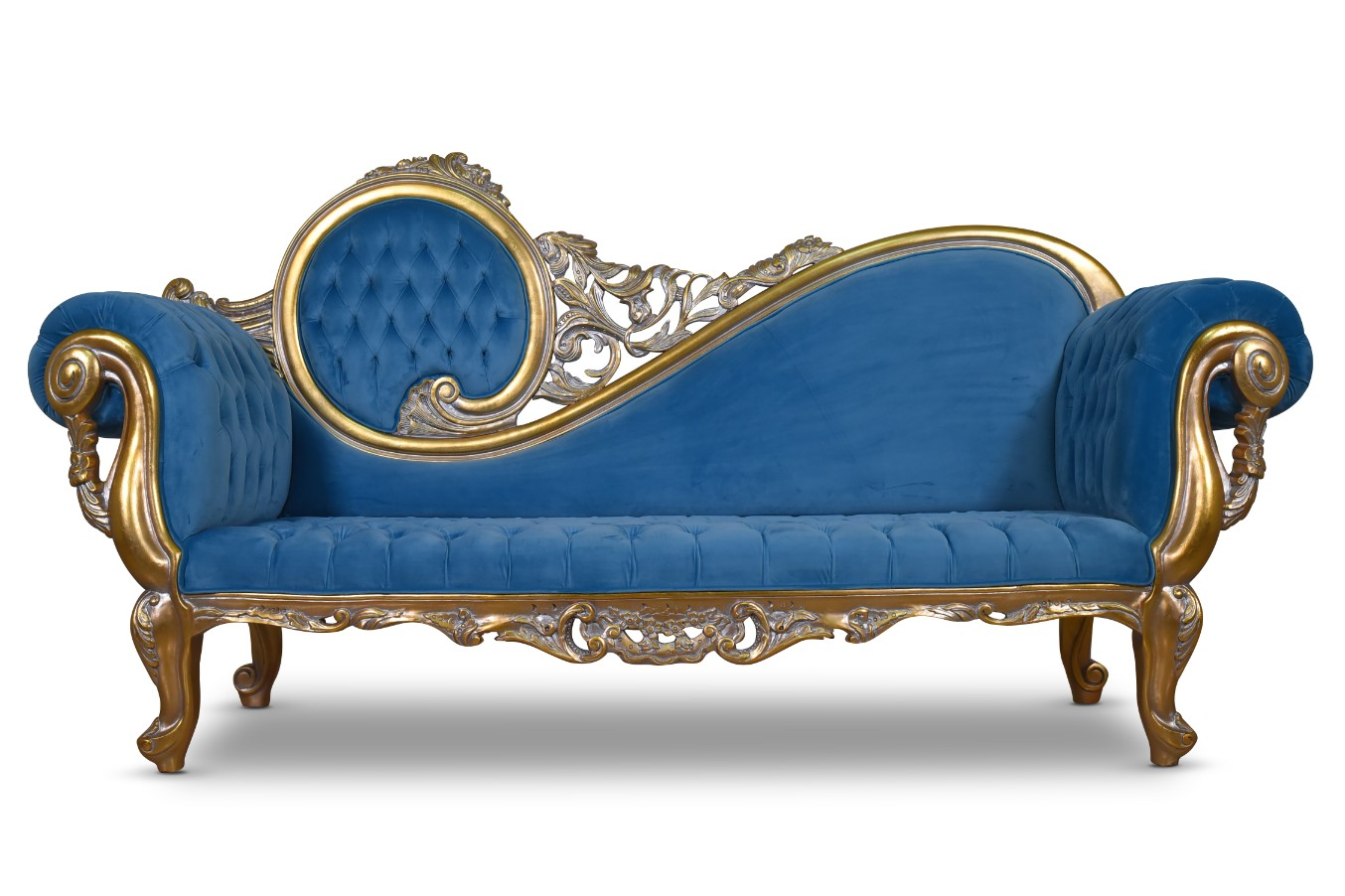 Made To Order Citronelle Victorian Style Gold Leaf Tufted Blue Velvet Chaise Lounge Art De Vie Furniture