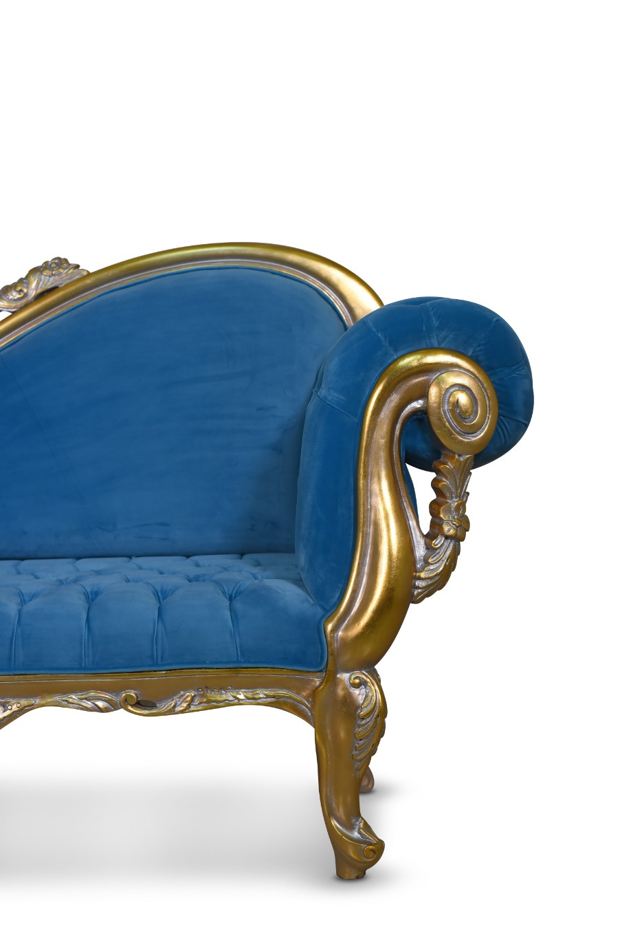 MADE TO ORDER / Citronelle, Victorian Style, Gold leaf , Tufted Blue Velvet, Chaise Lounge