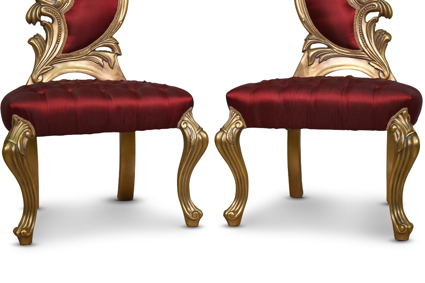 Siléné Giltwood, French Style,Gold Leaf,Crimson silk upholstery, Chairs (Set of 2)