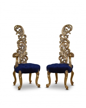 Cruauté, French Style, Gold Leaf, Tufted Velvet, Armchair (Set of 2)