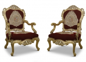 MADE TO ORDER / Liseron des champs, fleur-de-lis style,Gold Leaf, Maroon Jacquard, Armchair (Set of 2)