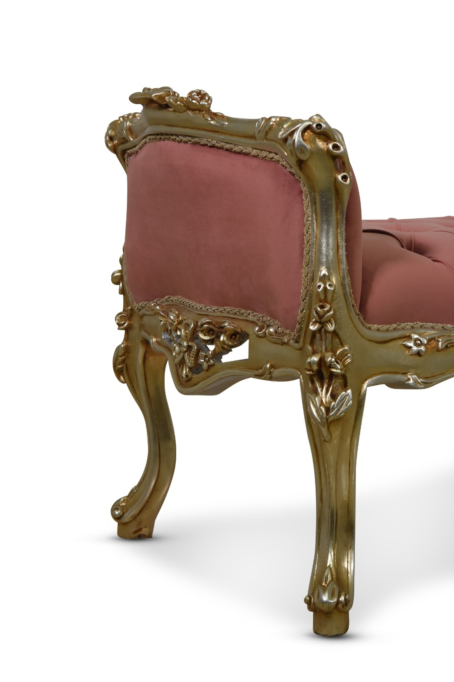 MADE TO ORDER / French Style, Hand Carved Wood Frame, Tufted Victorian rose Velvet ,Banquette Bench