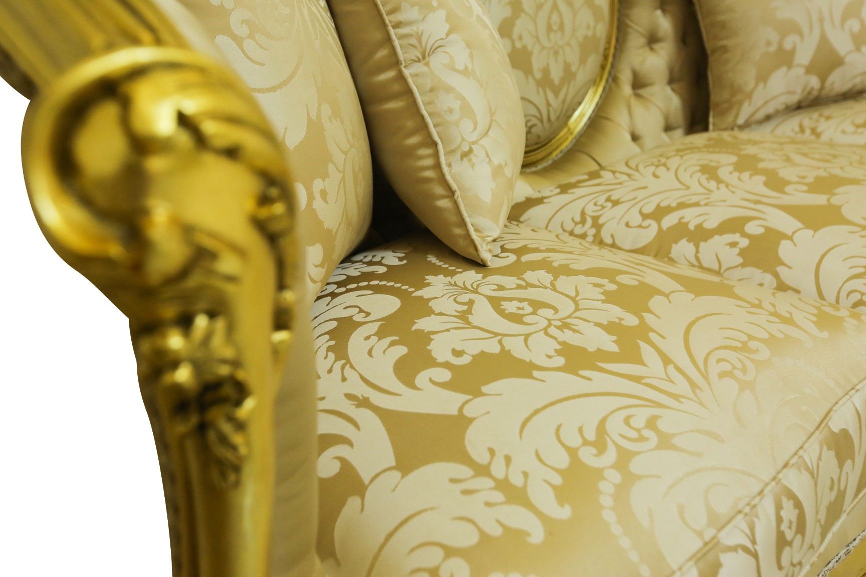 Made To Order / Muier noir, French Style , Gold Leaf , Cream / Ivory Silk Upholstered , Living Room Set