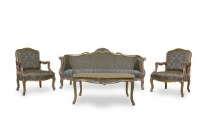 Made To Order / Muguet de Mai, French Style, Gold Leaf , Tufted Sky blue Embroidered Silk, Living Room Set