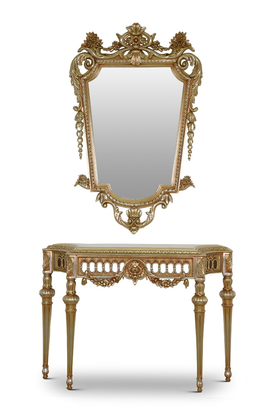 MADE TO ORDER / Epine-vinette, French Style, Gold Leaf, Marble Top, Console and Mirror Set