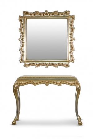 MADE TO ORDER /Rose capucine, French Style, Gold Leaf, Marble Top, Console and Mirror Set