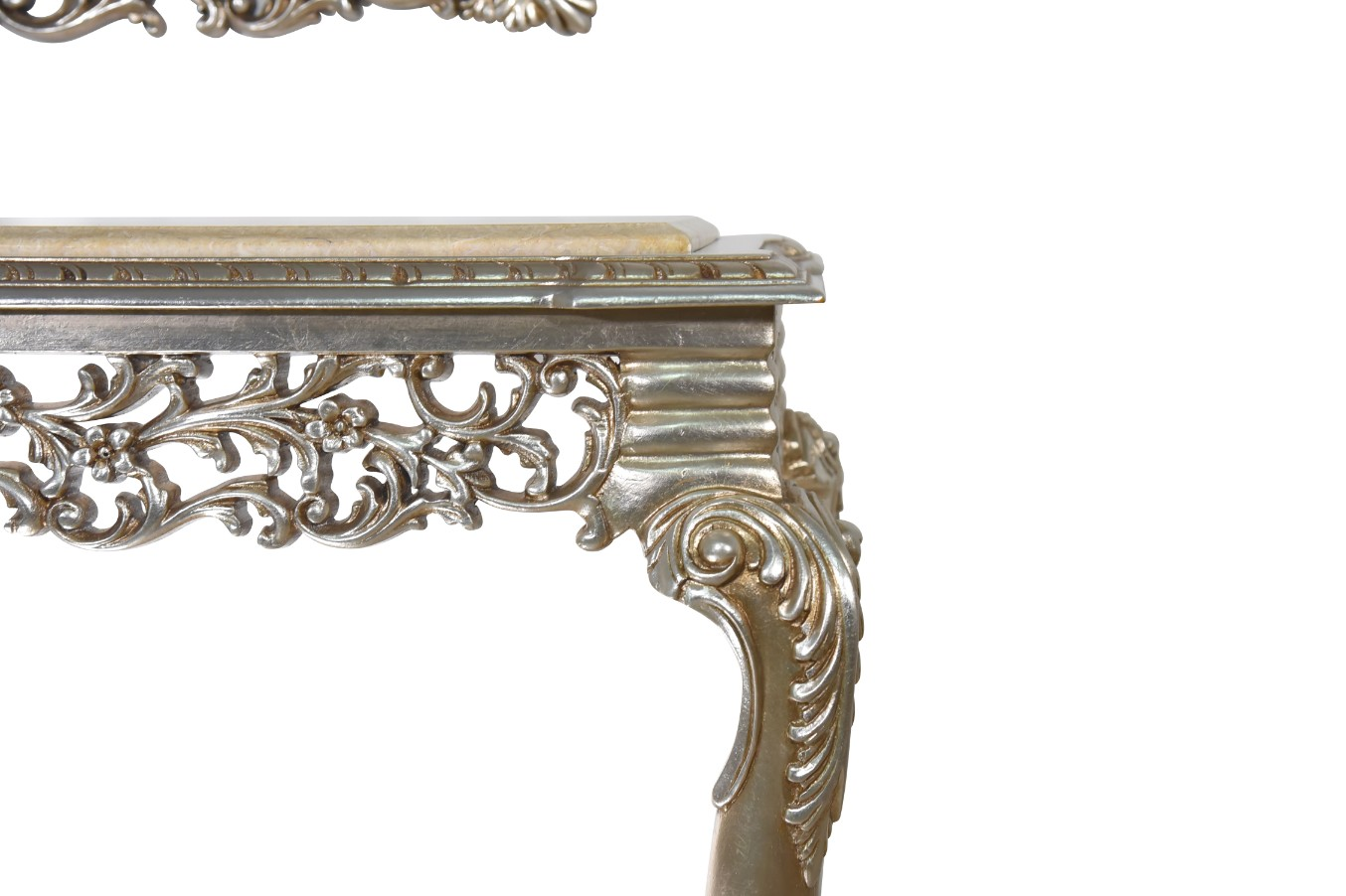 Géranium écarlate,French Style, Silver Leaf, Marble Top, Console and Mirror Set