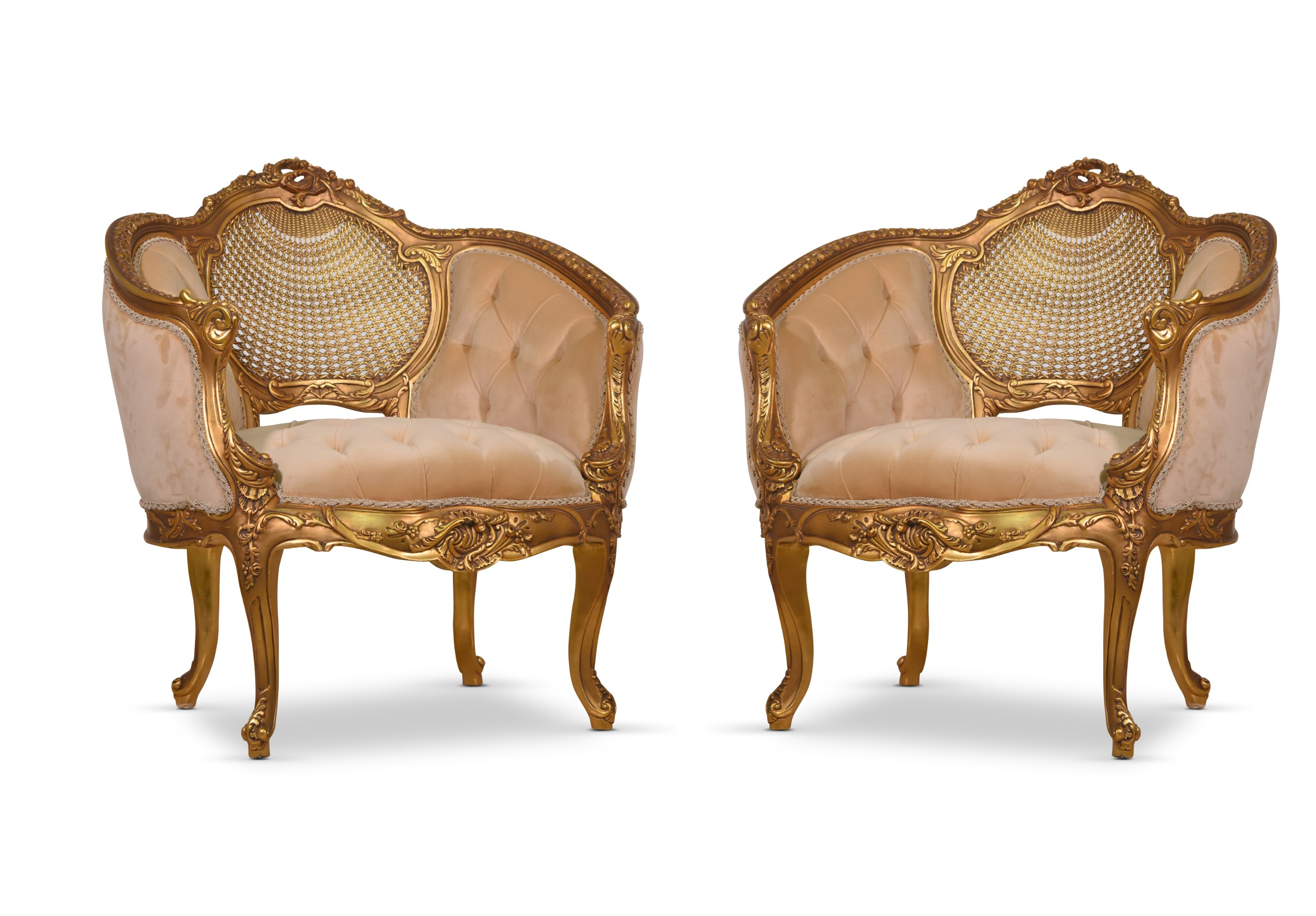 MADE TO ORDER /Acanthus, French Style,Cane Art,Gold leaf, Tufted, Cream beige, Armchair (Set of 2)
