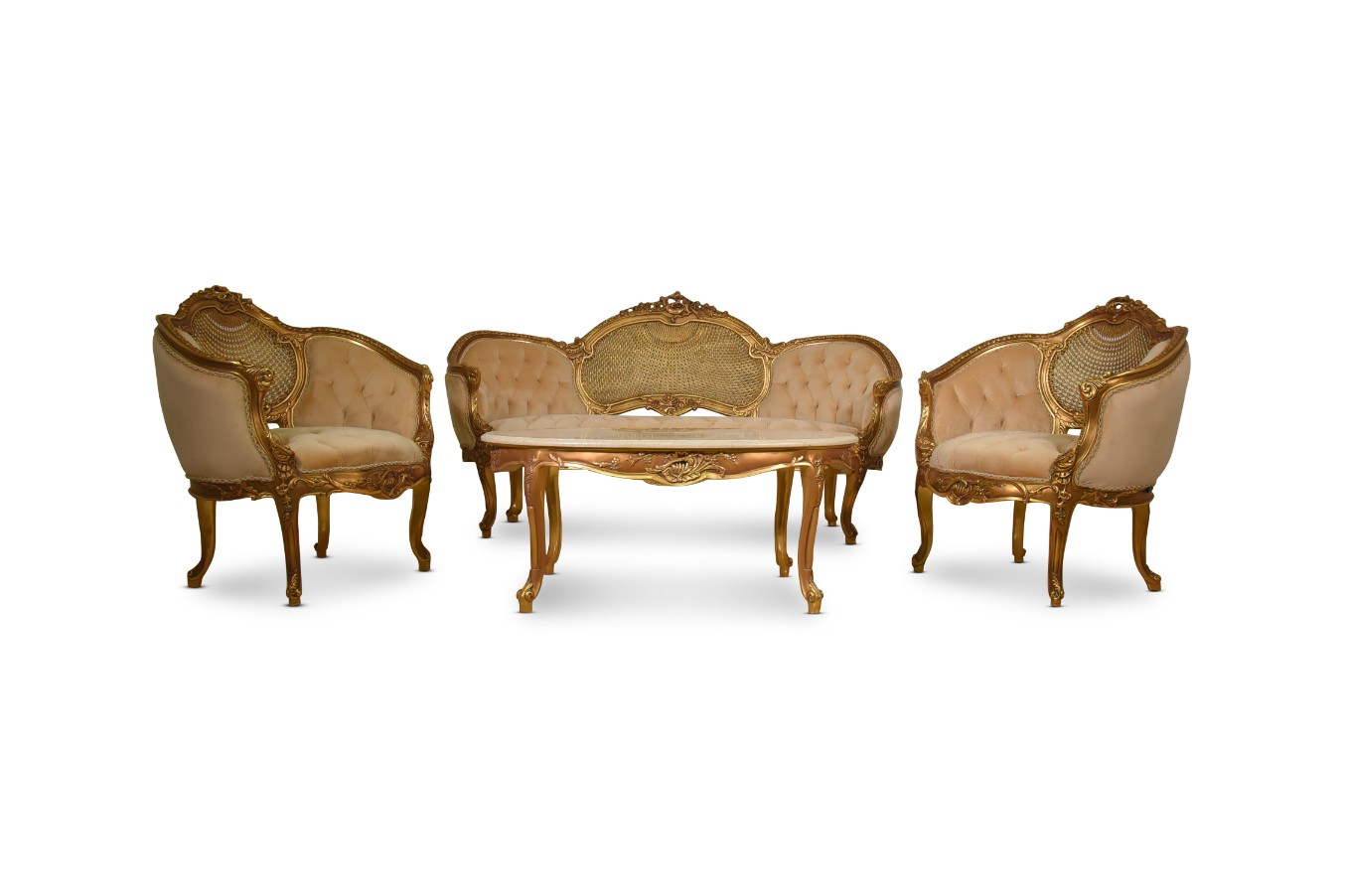 Made To Order / French Style , French Cane Art, 24k Gold Leaf Hand Carved Wood Frame , Tufted Cream Velvet , Living Room Set