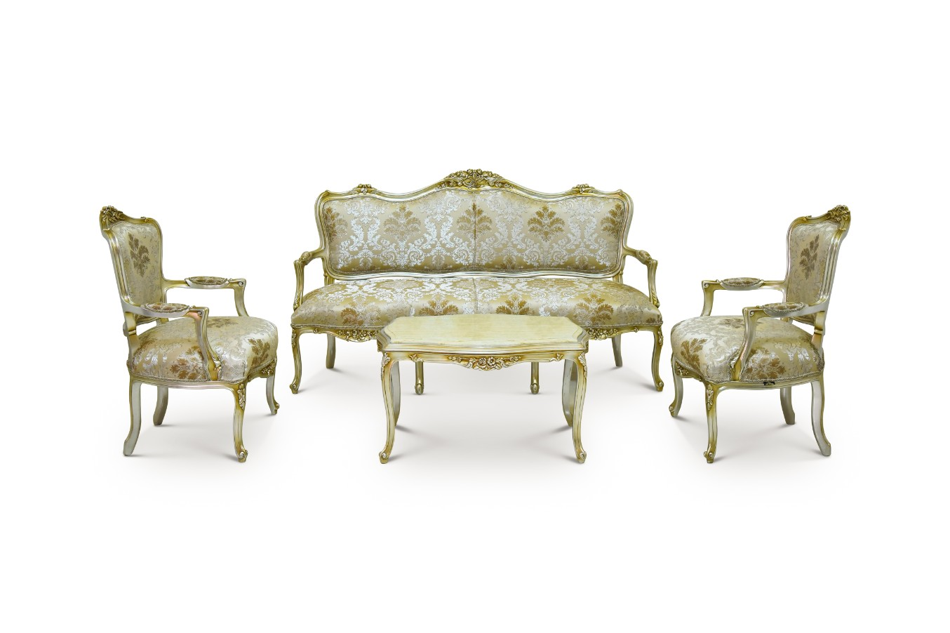 Asphodèle jaune Louis XV Style Living Room Set