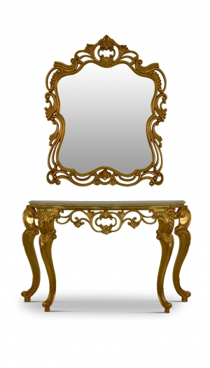 MADE TO ORDER / Hélénie d'automne,French Style, Gold Leaf, Marble Top, Console and Mirror Set