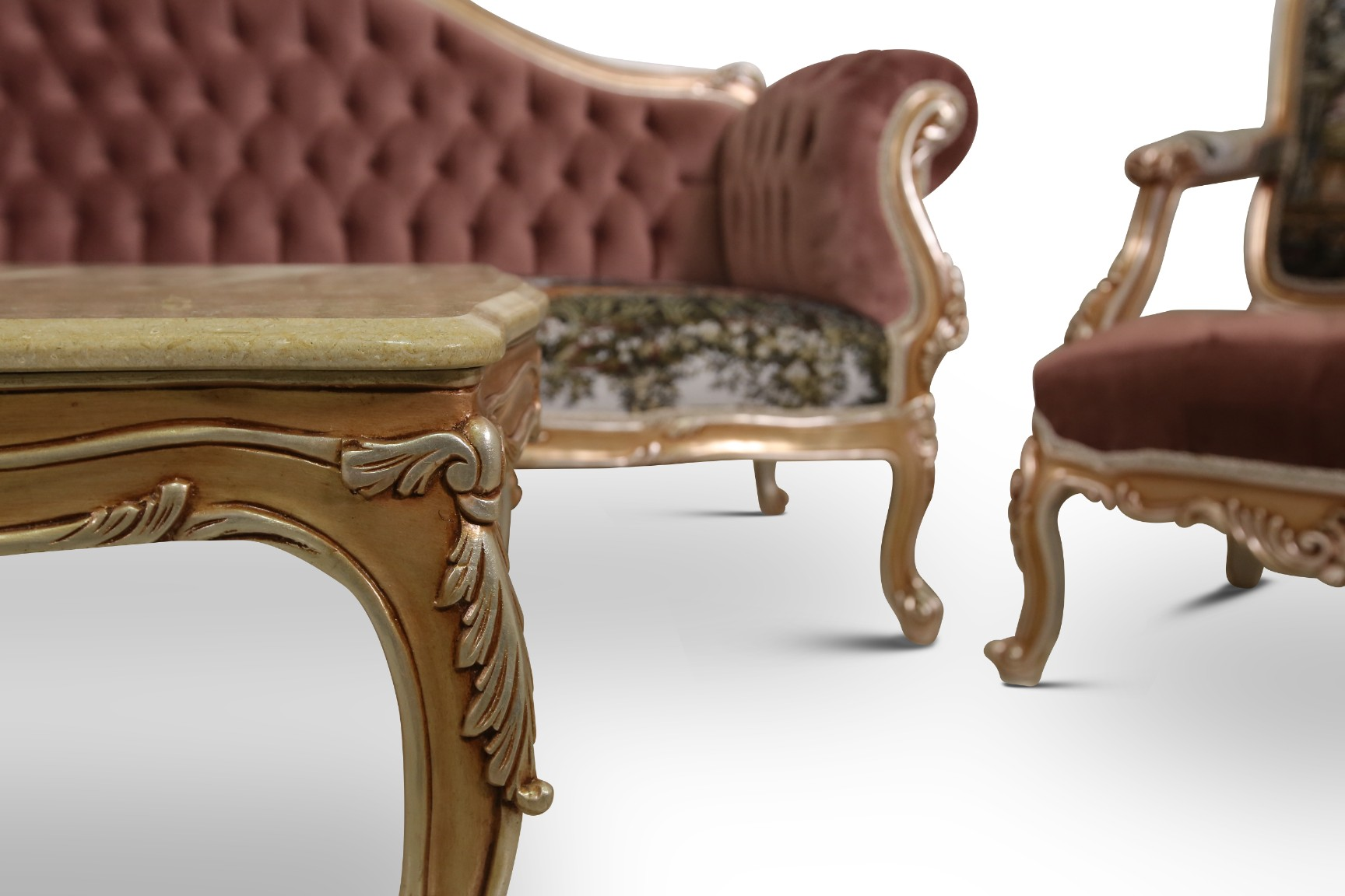 Made To Order / Althaea Frutex, Louis XV Style, silver Leaf, French Pictorial Toile , Tufted velvet, Living Room Set