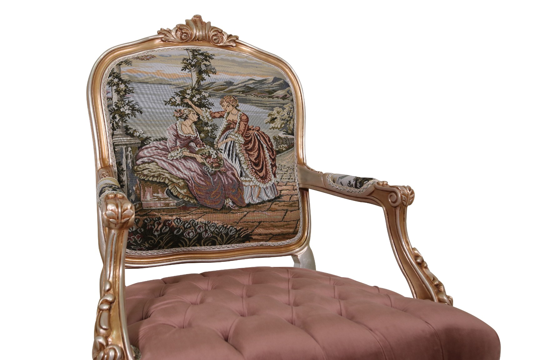 MADE TO ORDER / Althaea Frutex French,  Louis XV Style, French toile portrait, Silver Leaf, Tufted Rose Mauve Velvet,  Armchair (Set of 2)