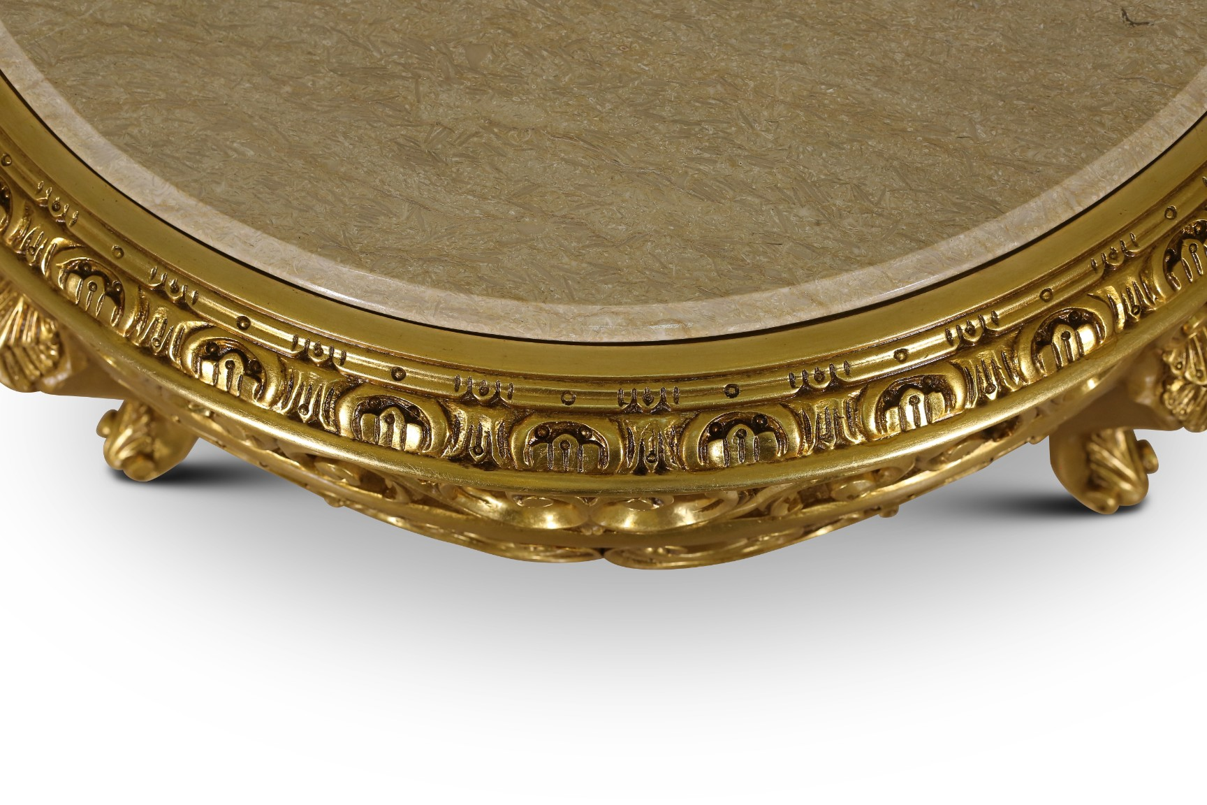 Alstroemeria, French Style, Gold Leaf , Marble Top ,Living Room Table Set , (Set of 3)