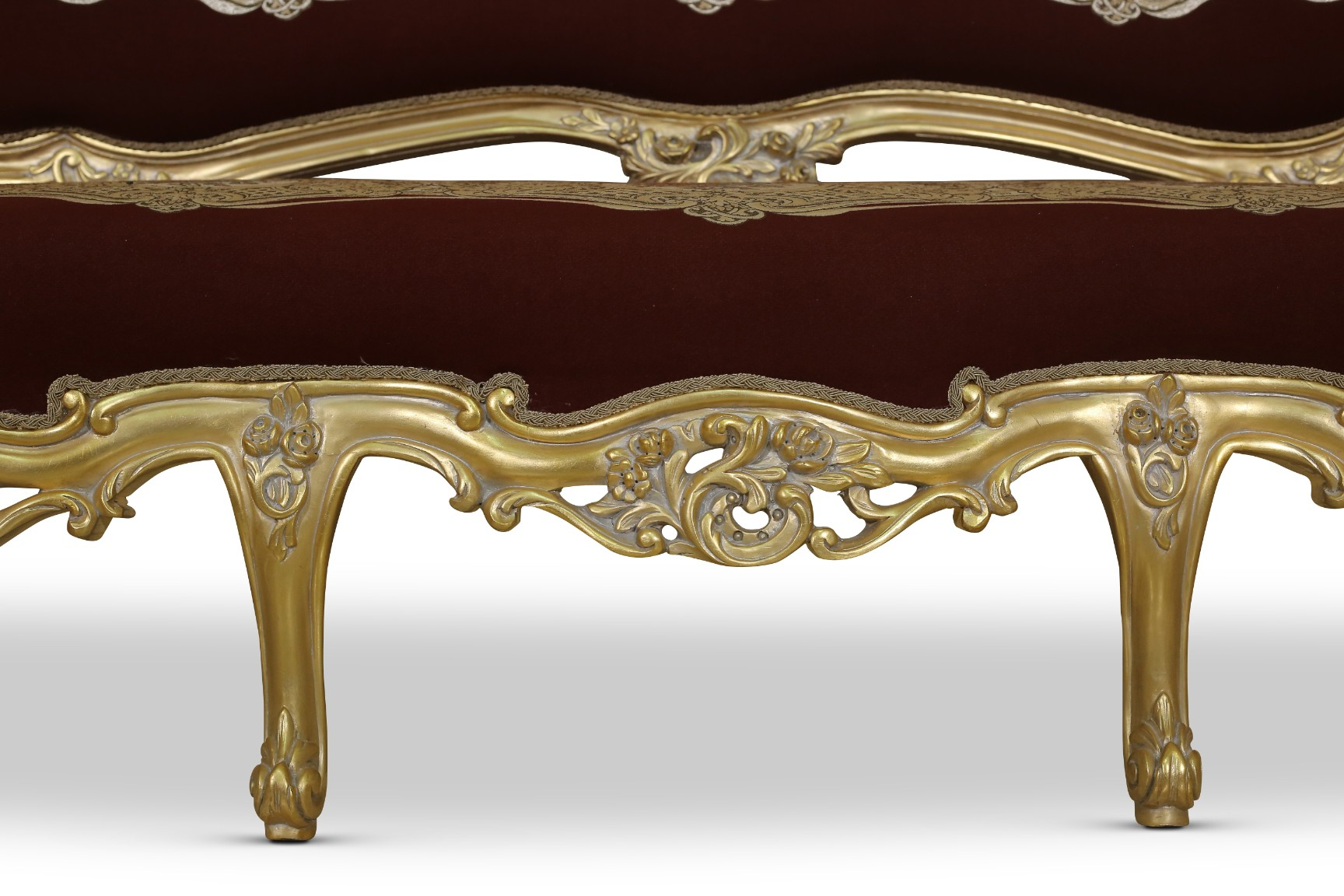 Liseron des champs, French Style , Gold Leaf , Maroon Jacquard Fabric, Living Room Set