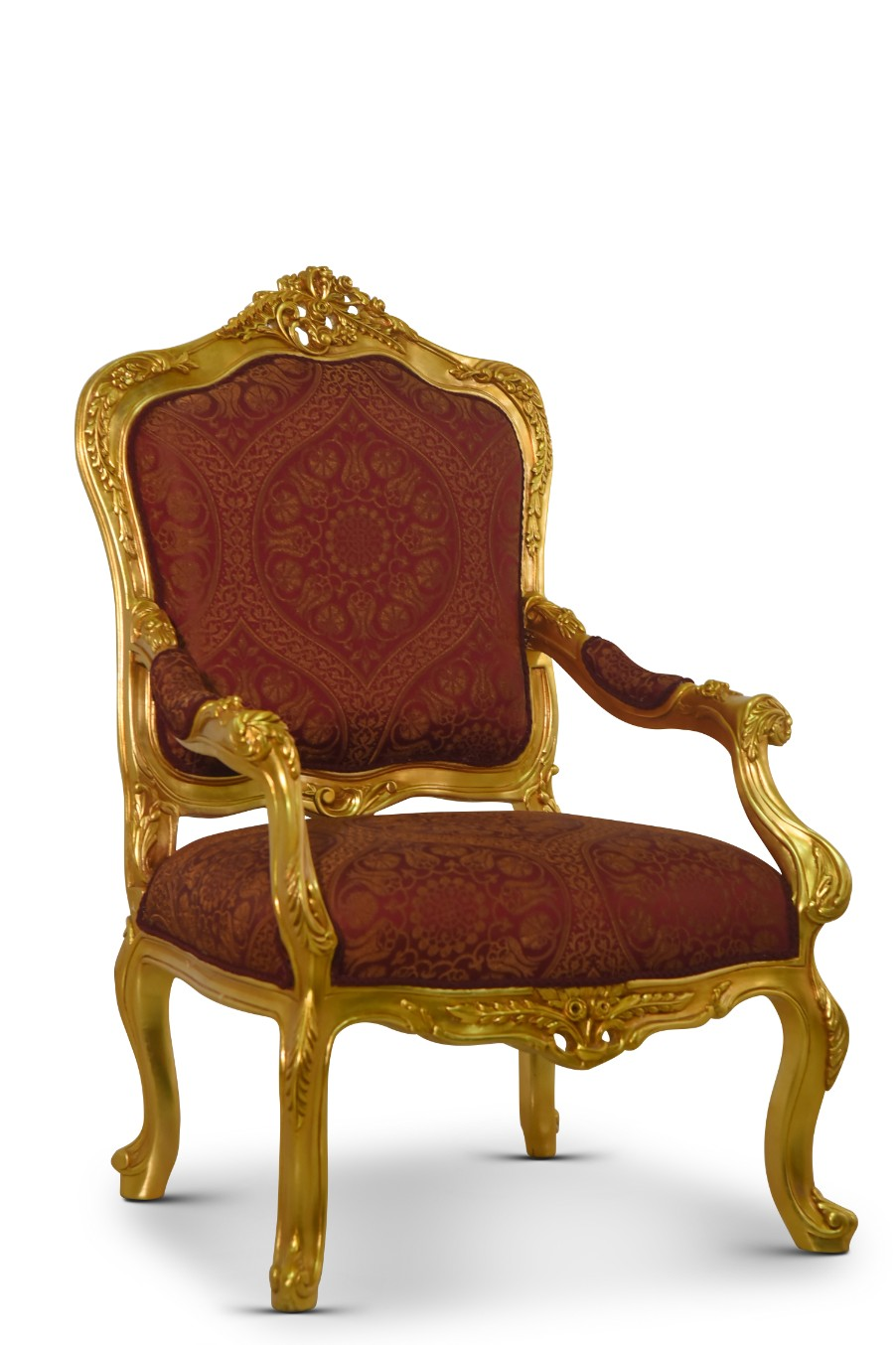 Œillet de poéte, French Style, Maroon embroidered Silk,Armchair (Set of 2)