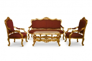 Œillet de poéte, French Style, Gold Leaf , Maroon Silk Upholstered , Living Room Set