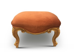Oranger, French Style, Gold Leaf, Tufted Orange Jacquard , Ottoman