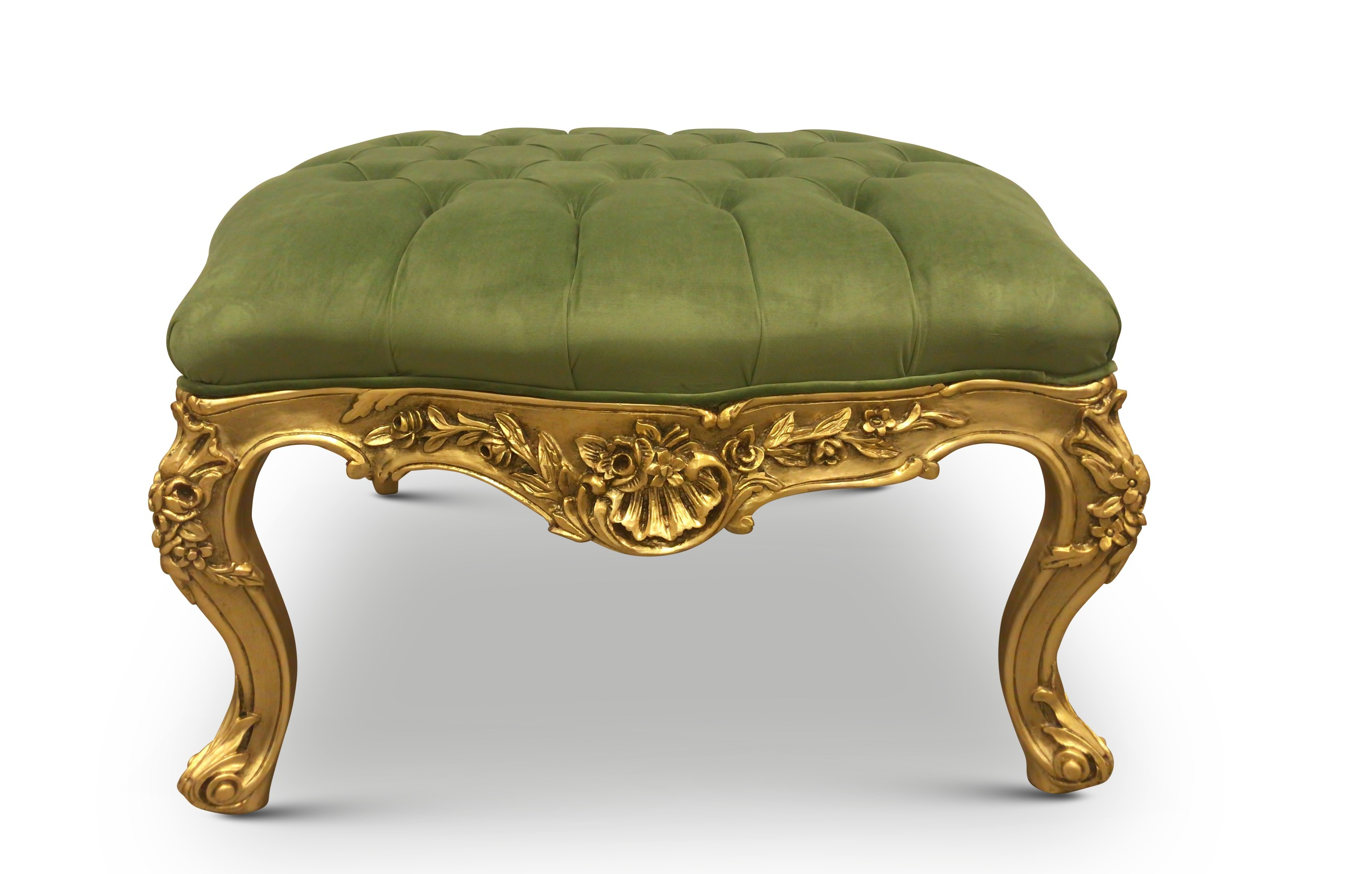 Marvelous Cardere French Style Gold Leaf Tufted Pistachio Green Velvet Ottoman Pdpeps Interior Chair Design Pdpepsorg