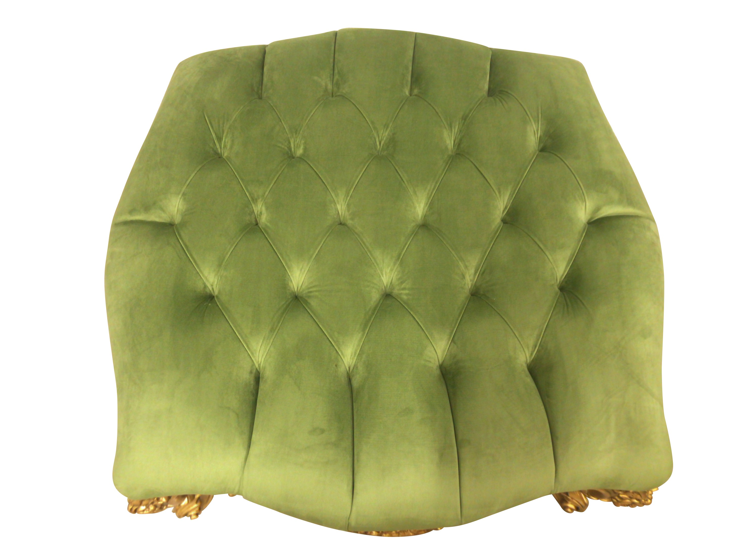 Cardére,French Style, Gold Leaf, Tufted Pistachio green Velvet ,Ottoman