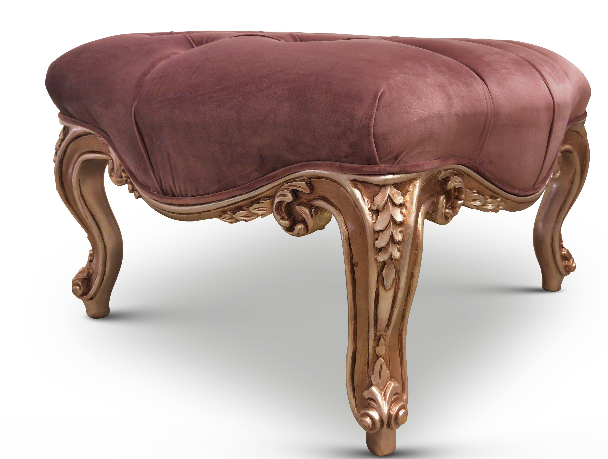 Rose cent-feuille, French Style, Rose Gold Leaf, Tufted Mauve Taupe Velvet, Ottoman