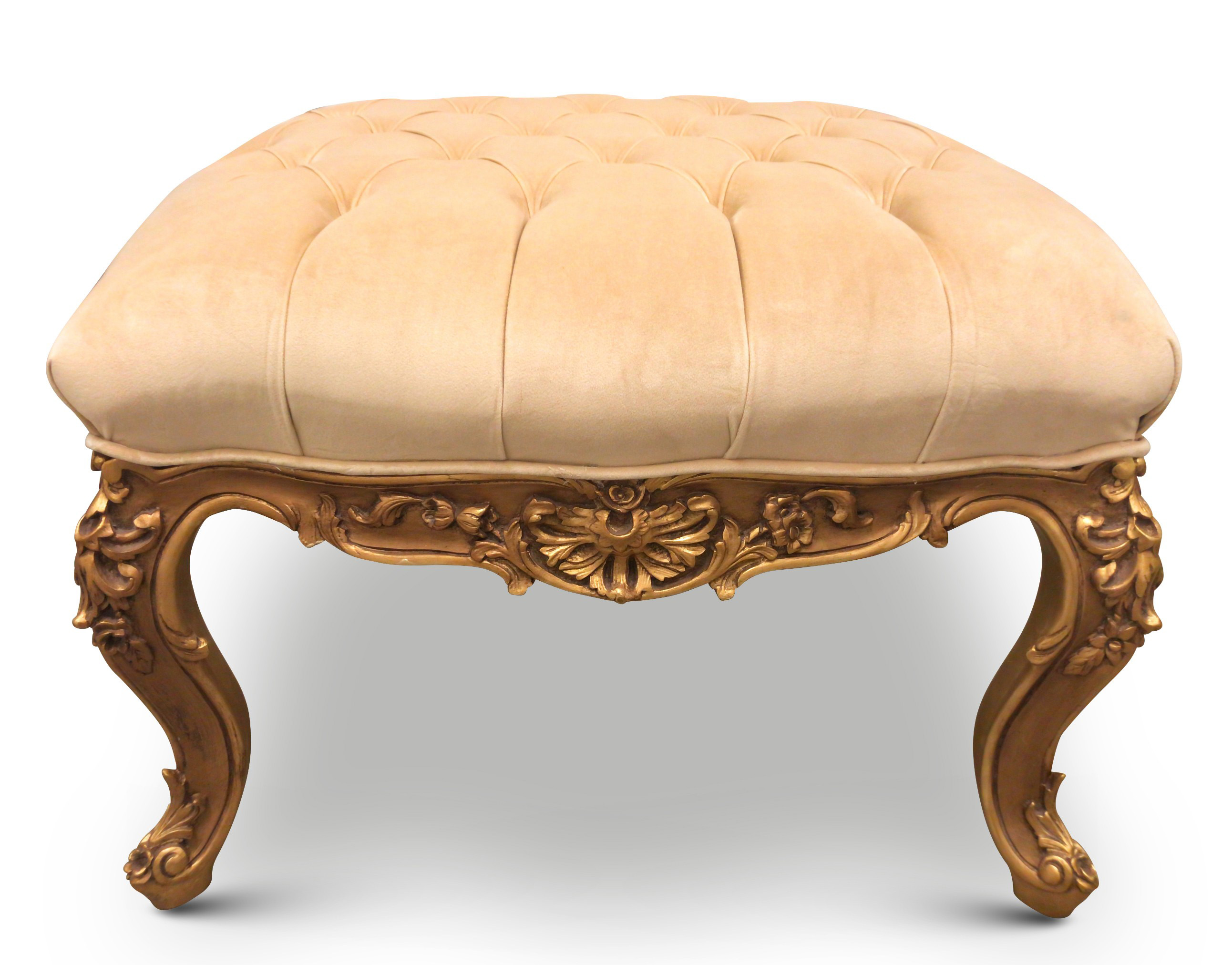 Circé, French Style, Gold Leaf ,Tufted Cream Biege Velvet , Ottoman