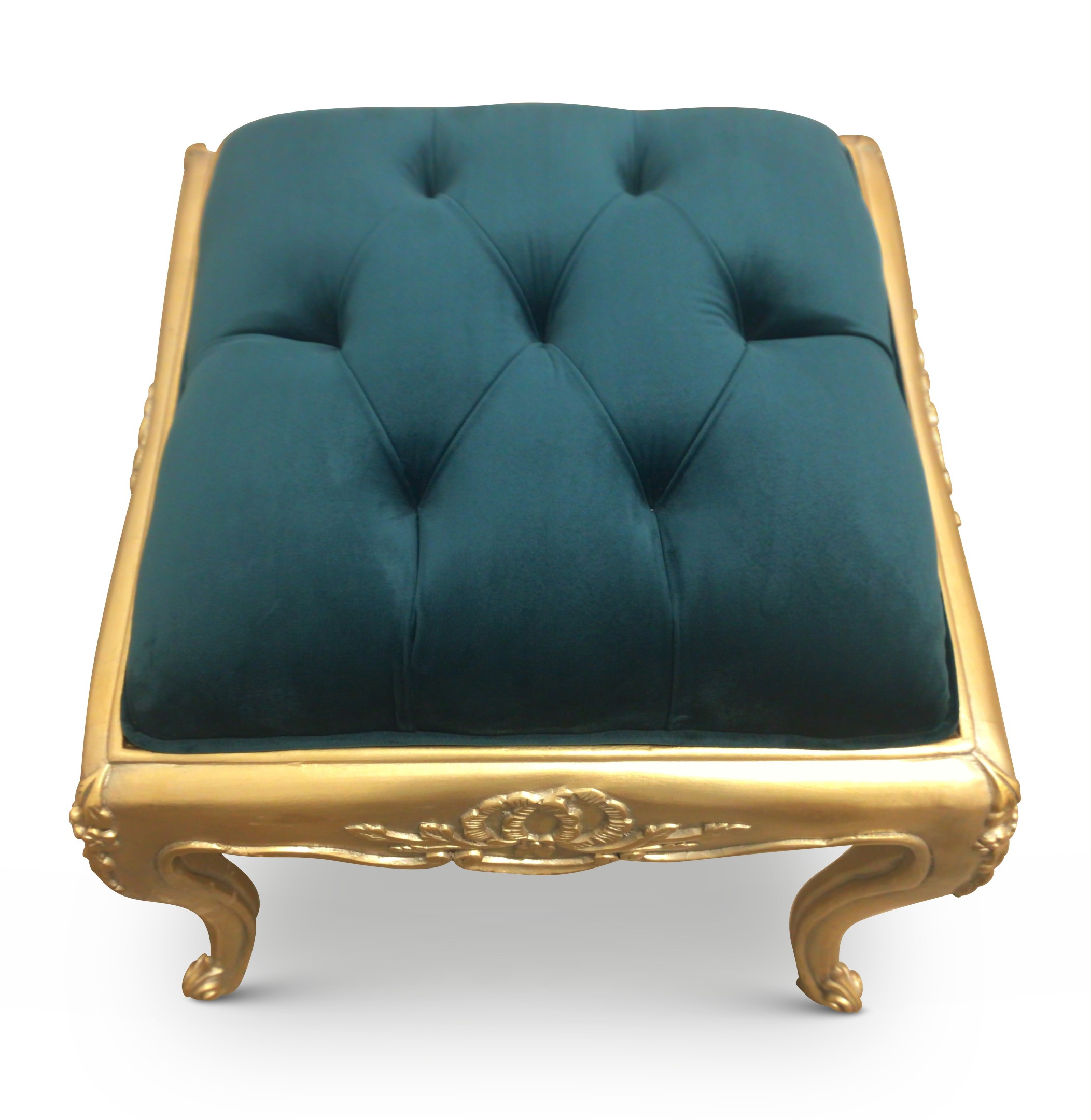Clématite, French Style, Gold Leaf ,Turquoise green Tufted Velvet, Ottoman (Set of 3)