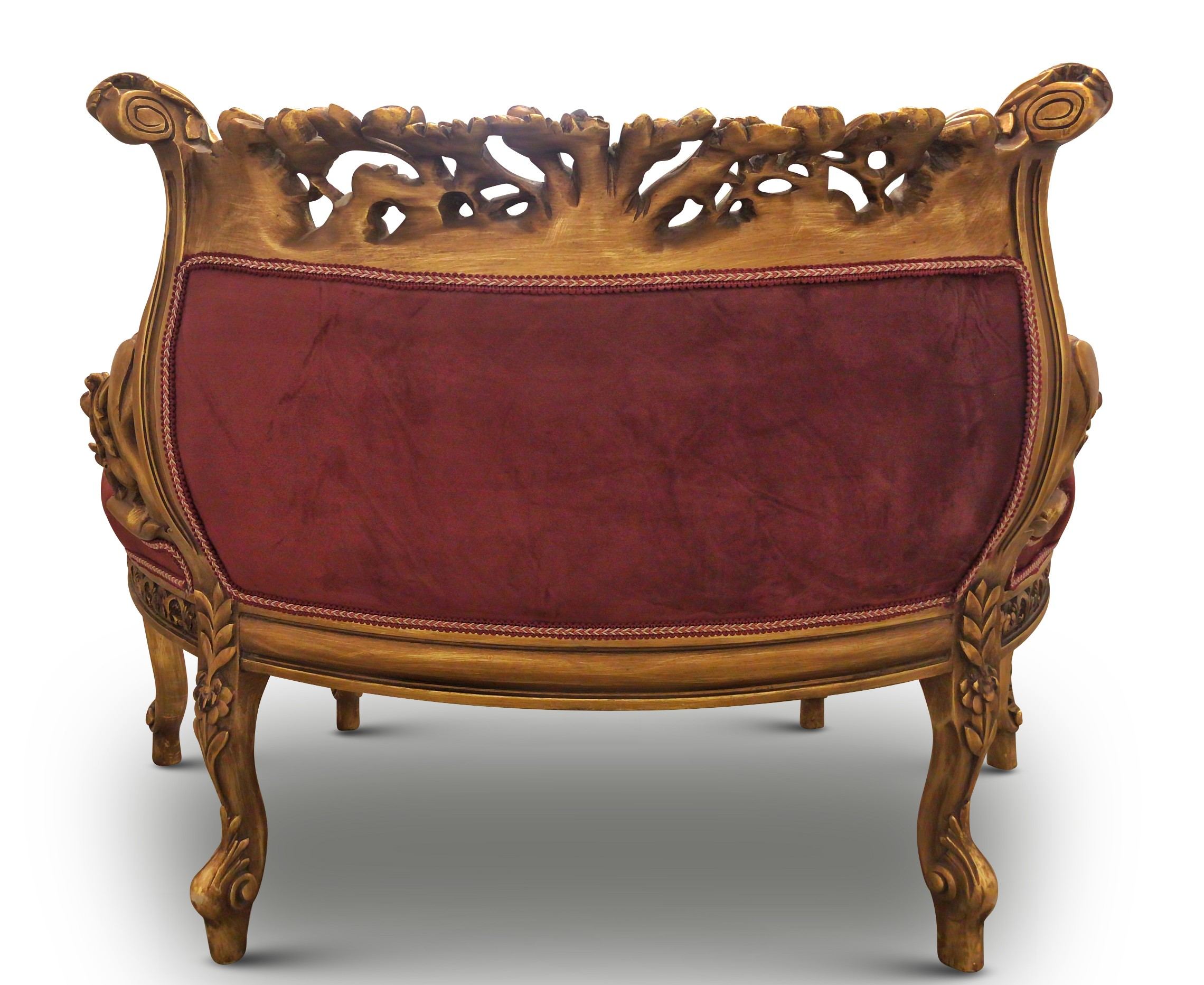 MADE TO ORDER / Antique Style, Aged Gold Leaf , Tufted Maroon Velvet, Banquette Sofa