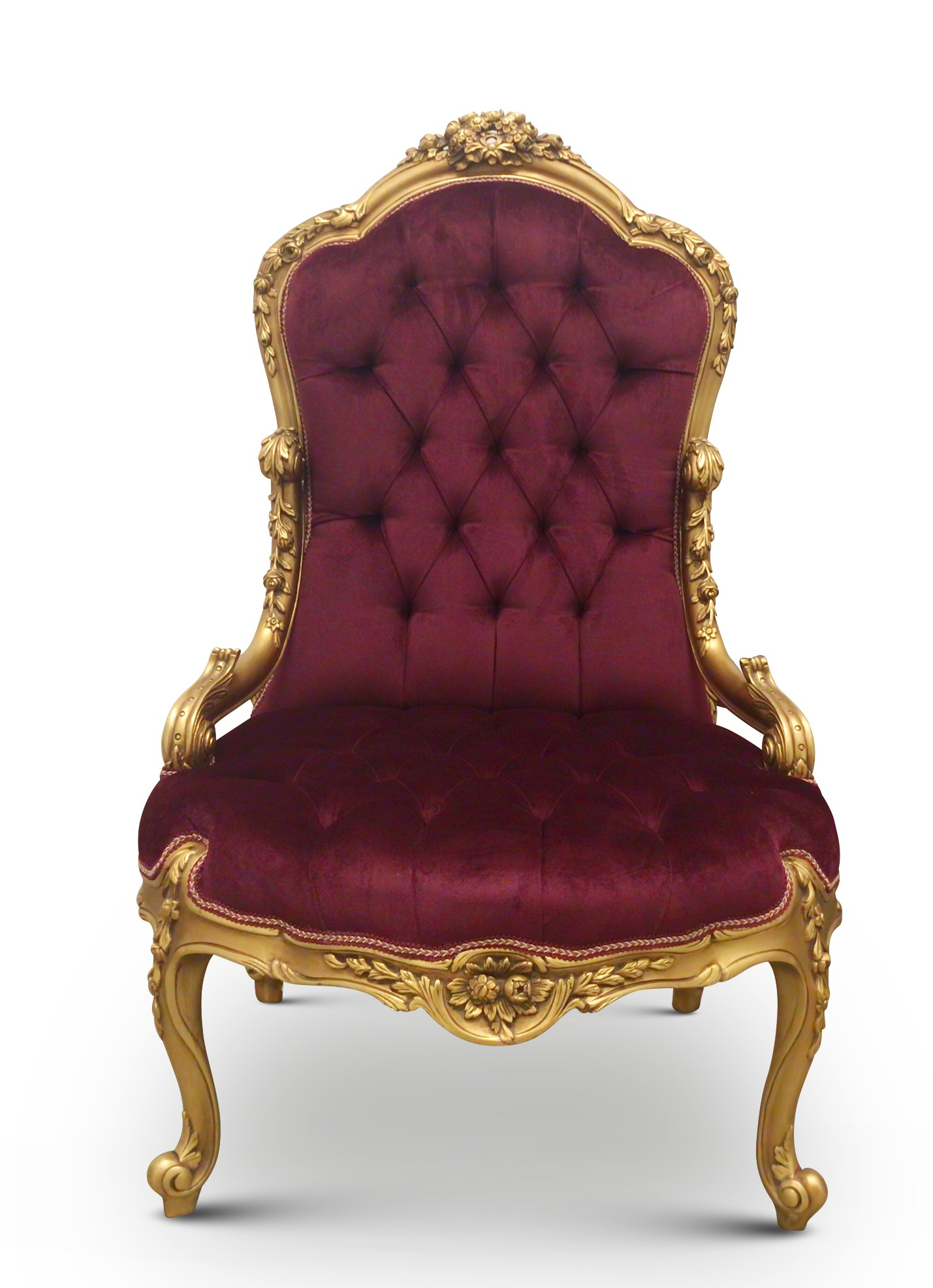 MADE TO ORDER/ Cerisier Capitone, French Style, Gold Leaf, Tufted Mulberry Velvet,Armchair ( Set of 2 )