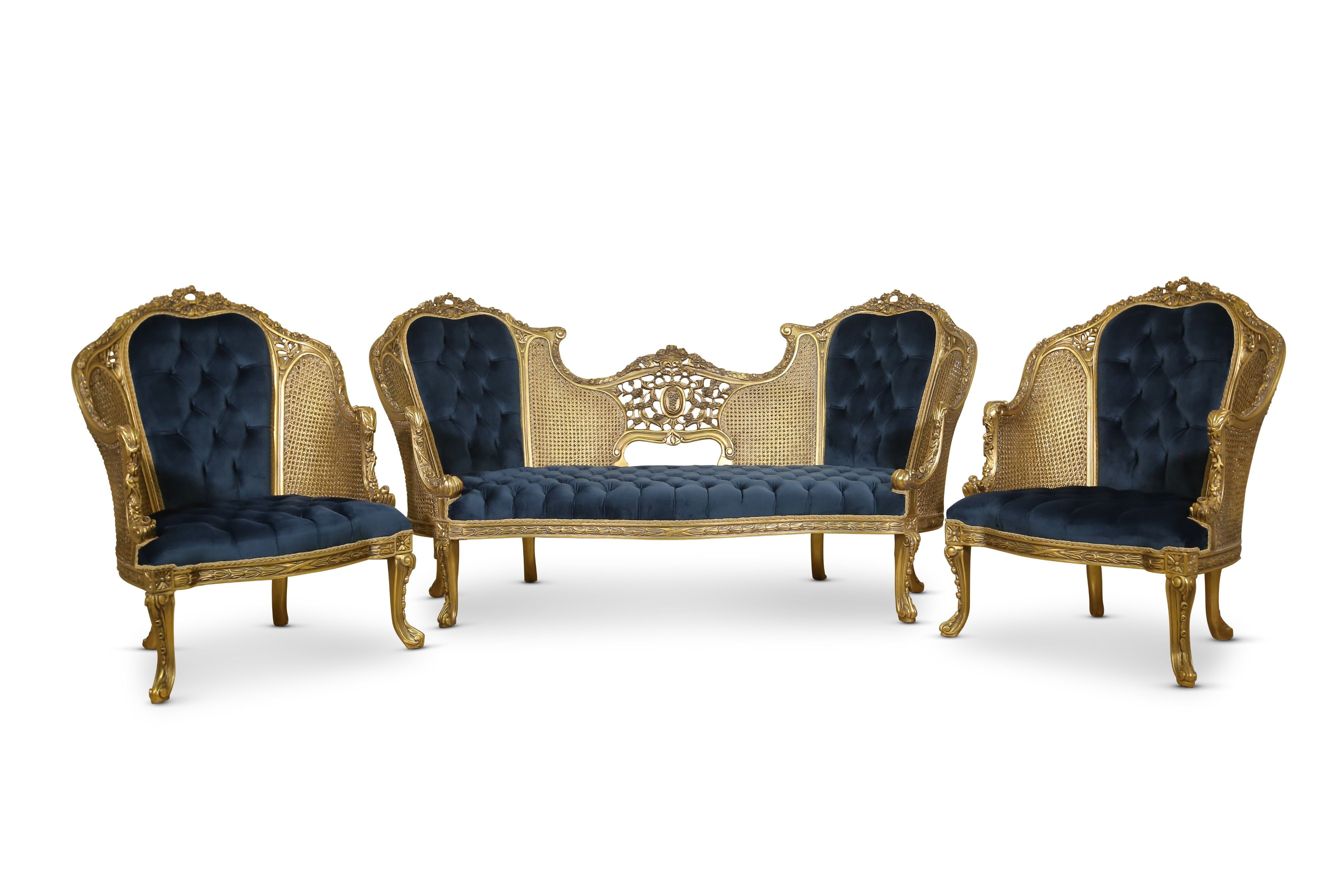 Made To Order / Pied d'alouette, French Style Cane Art , Gold Leaf , Tufted Blue Velvet, Living Room Set