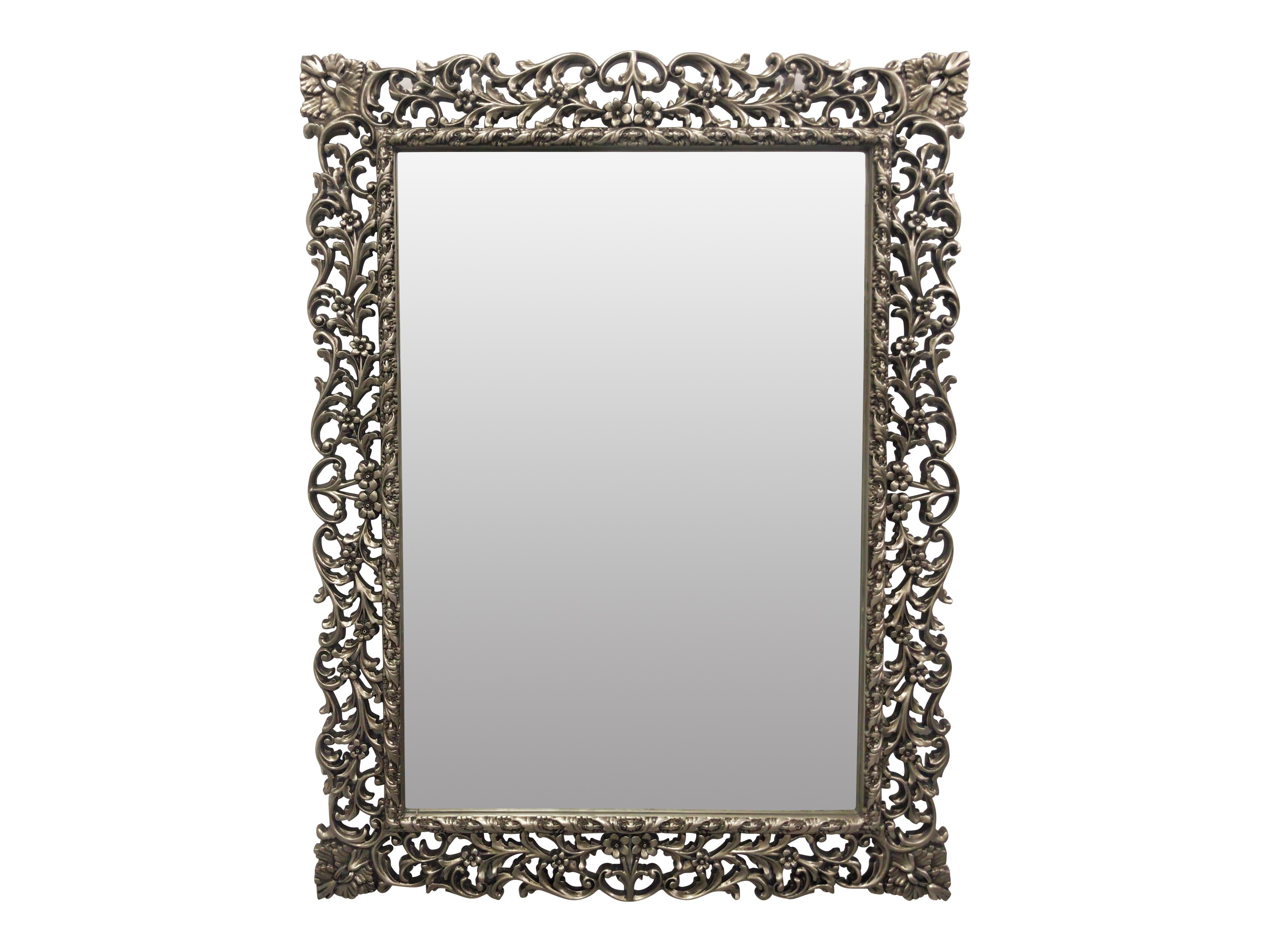 Œillet de poéte , French Style, Silver Leaf ,Hand Carved, Wall Mirror