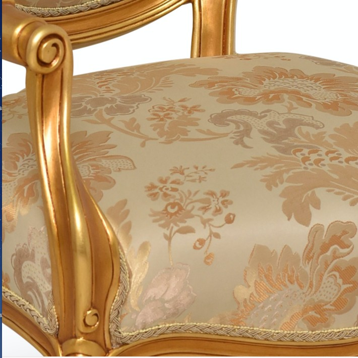 Clématite, French Style,Creamy Shades Floral-patterned Silk,Gold Leaf Armchair (Set of 2)