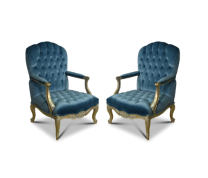 Celsie à Crete, French Style , Gold Leaf, Capitone Maya Blue Velvet, Armchair (Set of 2)