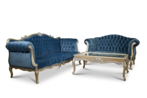 Made to Order / Celsie à Crete, French Style, Gold Leaf, Tufted Maya Blue Velvet, Living Room Set