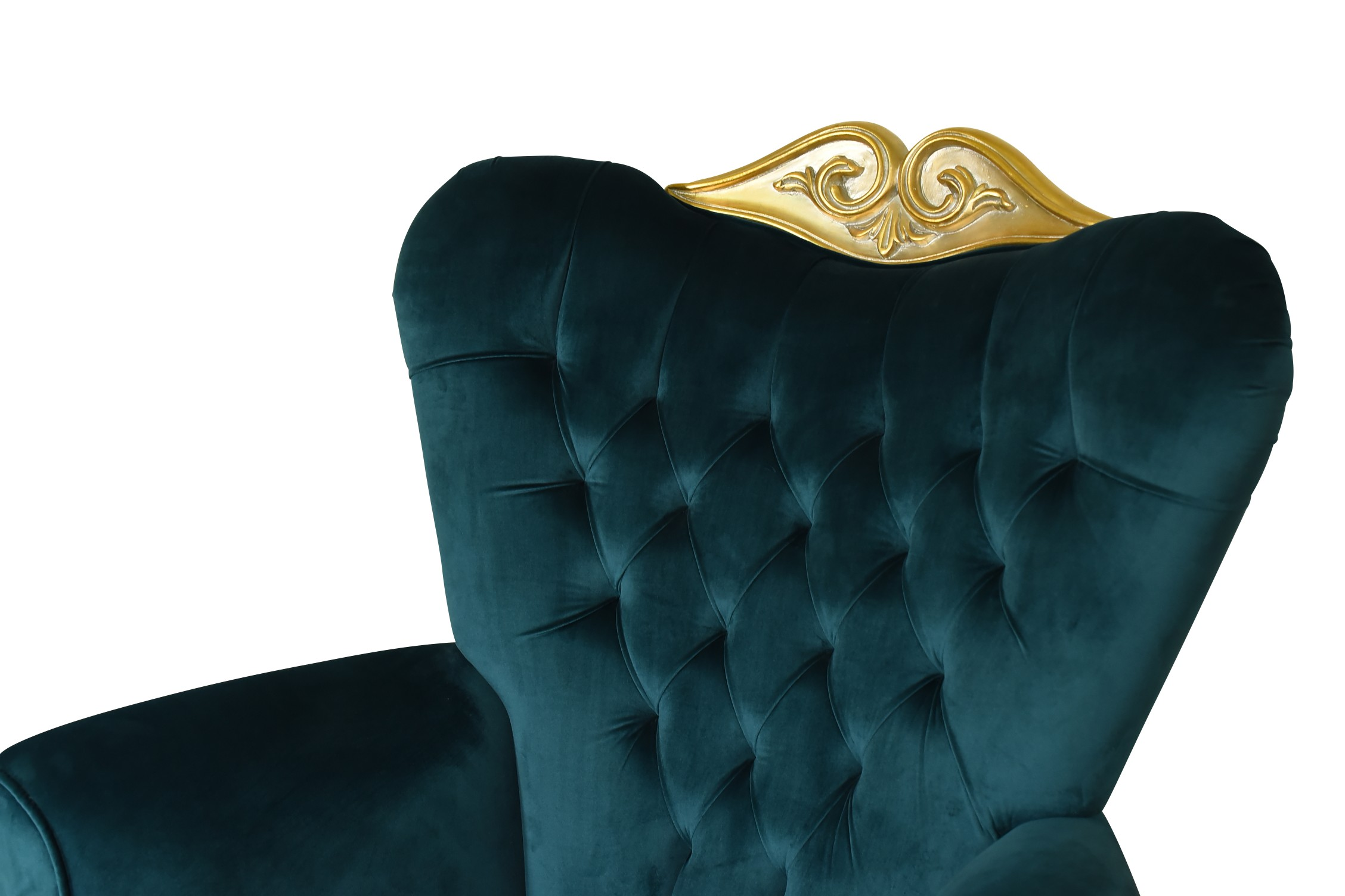MADE TO ORDER / Romarin, French Style , Gold Leaf, Tufted Green Turquoise Velvet Armchair (Set of 2)