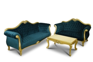 Phalangère, French Style, Gold Leaf, Tufted Green Turquoise Velvet , Living Room Set